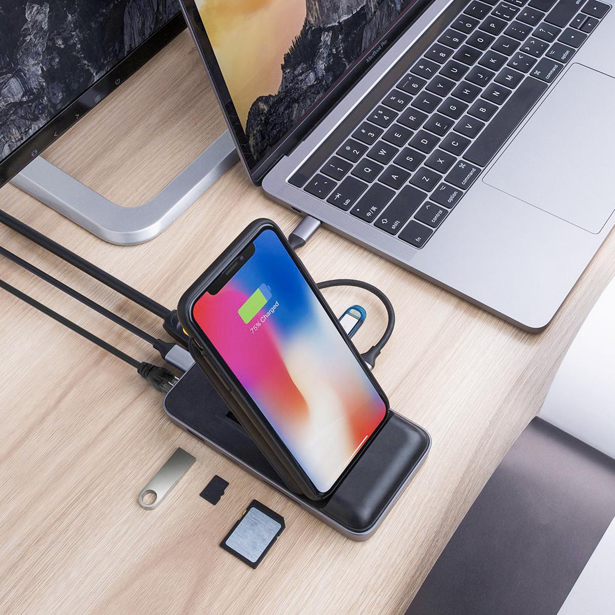 パソコン周りのごちゃごちゃを解決!ハブと充電スタンドがひとつに|「USB-Cハブ+ワイヤレス高速充電器」|Hyper Drive|スマホアクセサリーで快適なモバイルライフを。スマホがもっと便利になるおすすめグッズをご紹介