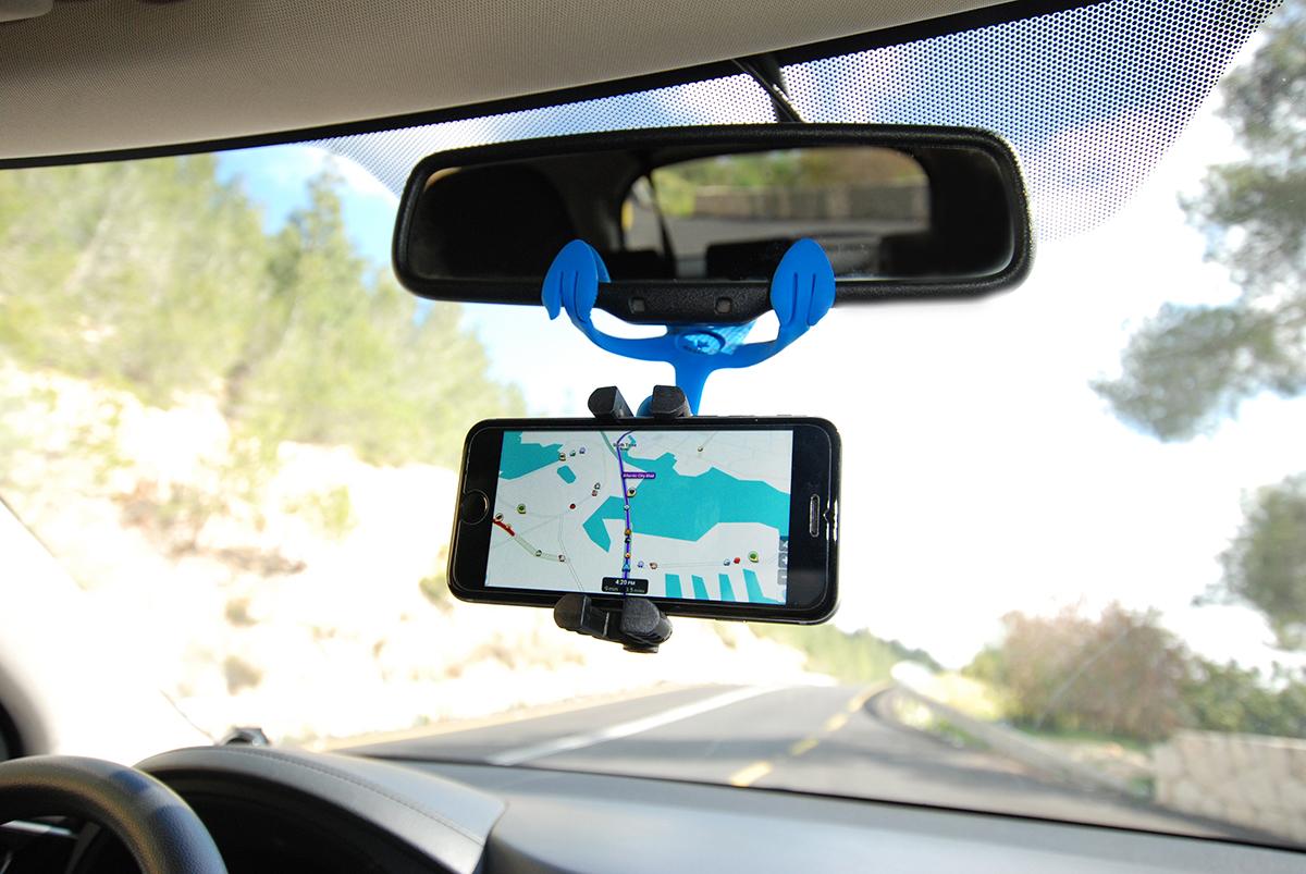 車のミラーに挟んで、スマホをカーナビ代わりに設置|柔軟な5本足でスマホやカメラをどこにでも固定!薄くて、軽くて、コンパクトなスマホ&カメラ用スタンド| miggo