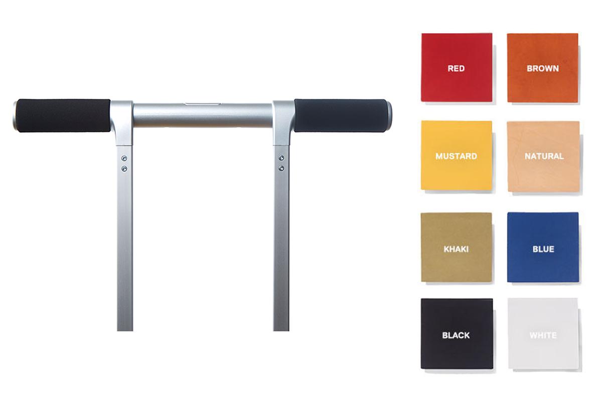 オプションのレザーハンドルで、自分好みの配色にカスタマイズできるスーツケース|RAWROW
