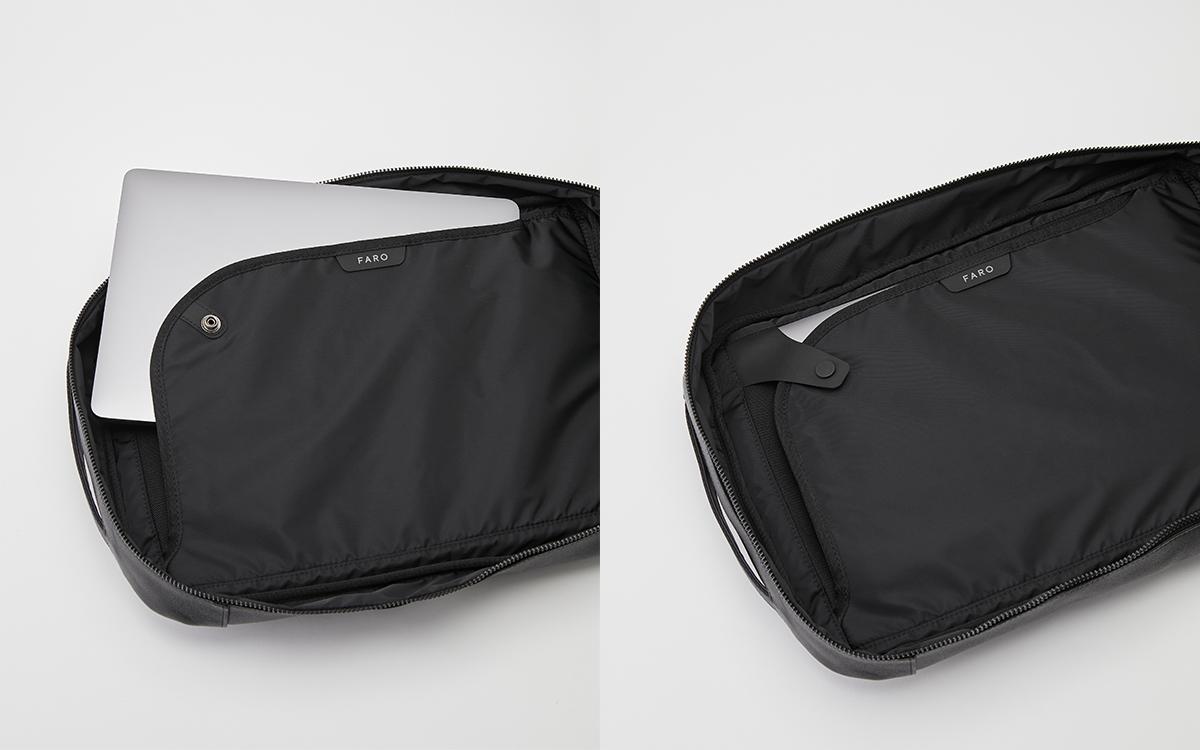 直感的に持ち物を整理できる仕切り・ポケット構造 防水レザー、超軽量、直感ポケット付きの日本製レザーバッグ PCバッグ・トートバッグ・リュック・バックパック FARO(ファーロ)