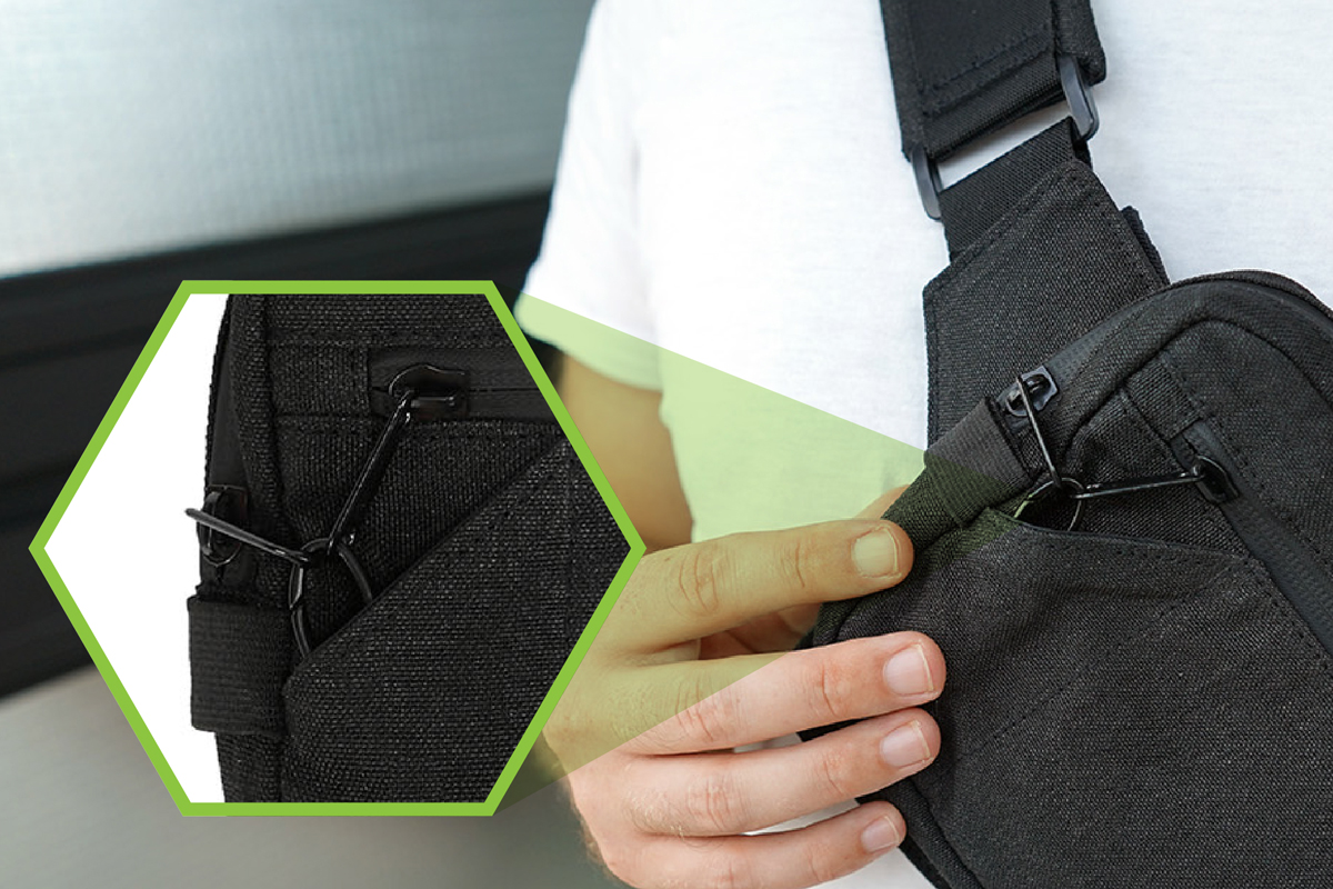 開閉ストッパー付きのジッパーも搭載している着る財布(ボディーバッグ型財布)|Code10