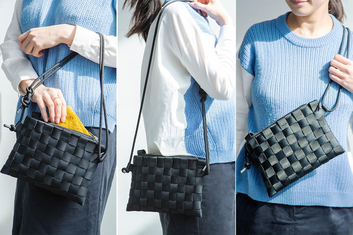 「ショルダーバッグ」「ハンドバッグ」「サコッシュ」と3パターンの使い方が楽しめる  PACK