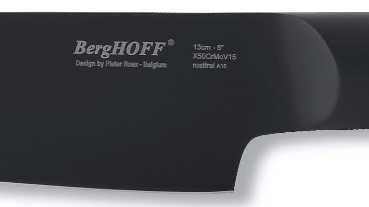 刃から柄のすべてをクロムモリブデンバナジウム鋼で製造した黒い包丁(三徳包丁・ペティナイフ)|BergHOFF(バーグホフ)