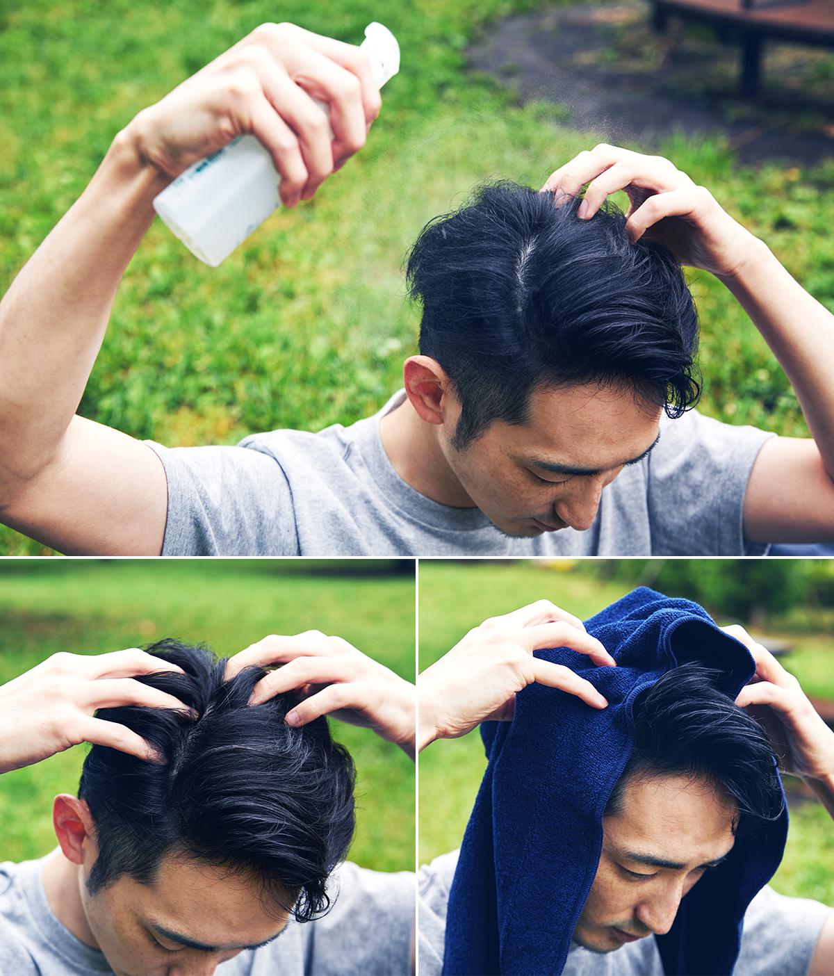 頭皮や髪に使う時は、全体に適量スプレーして、軽くマッサージした後、タオルドライするだけ。ベタベタ汗もさっぱり気持ちいい!髪も顔も体も、スプレーして拭き取るだけの「ドライウォッシュ」|YODELLOUTDOOR