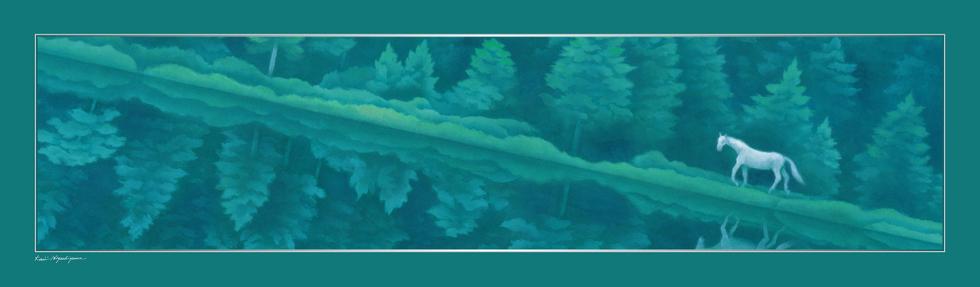 日本画家・東山魁夷の日本画が描かれたシルクストール「緑響く」