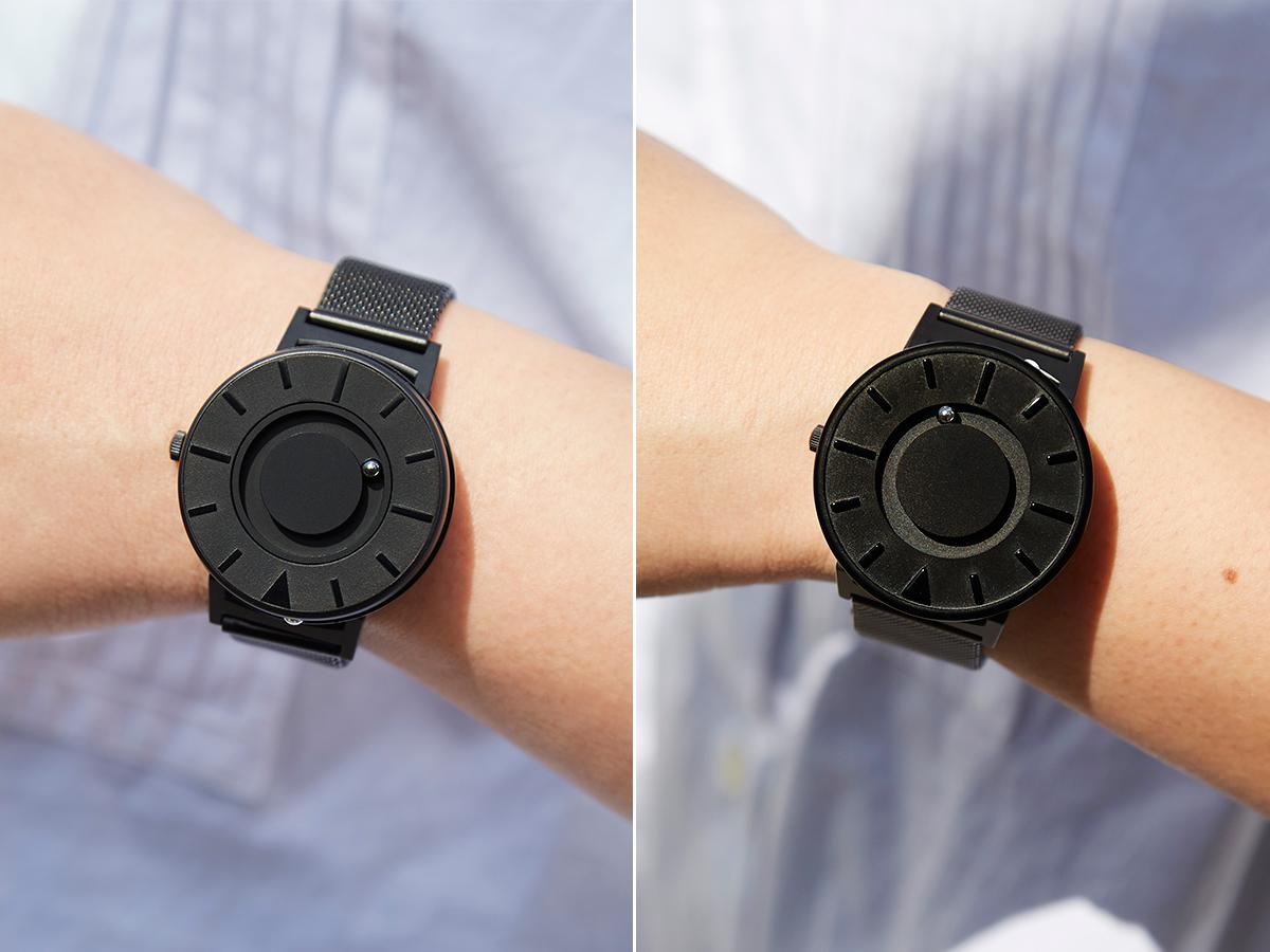 さまざまな個性や多様なニーズを持つ、すべての人が一緒に楽しめるデザインを理念とする『EONE』。腕元におさまるコンパクトな文字盤、軽やかな装着感のメッシュバンド。触って時間を知る「腕時計」| EONE