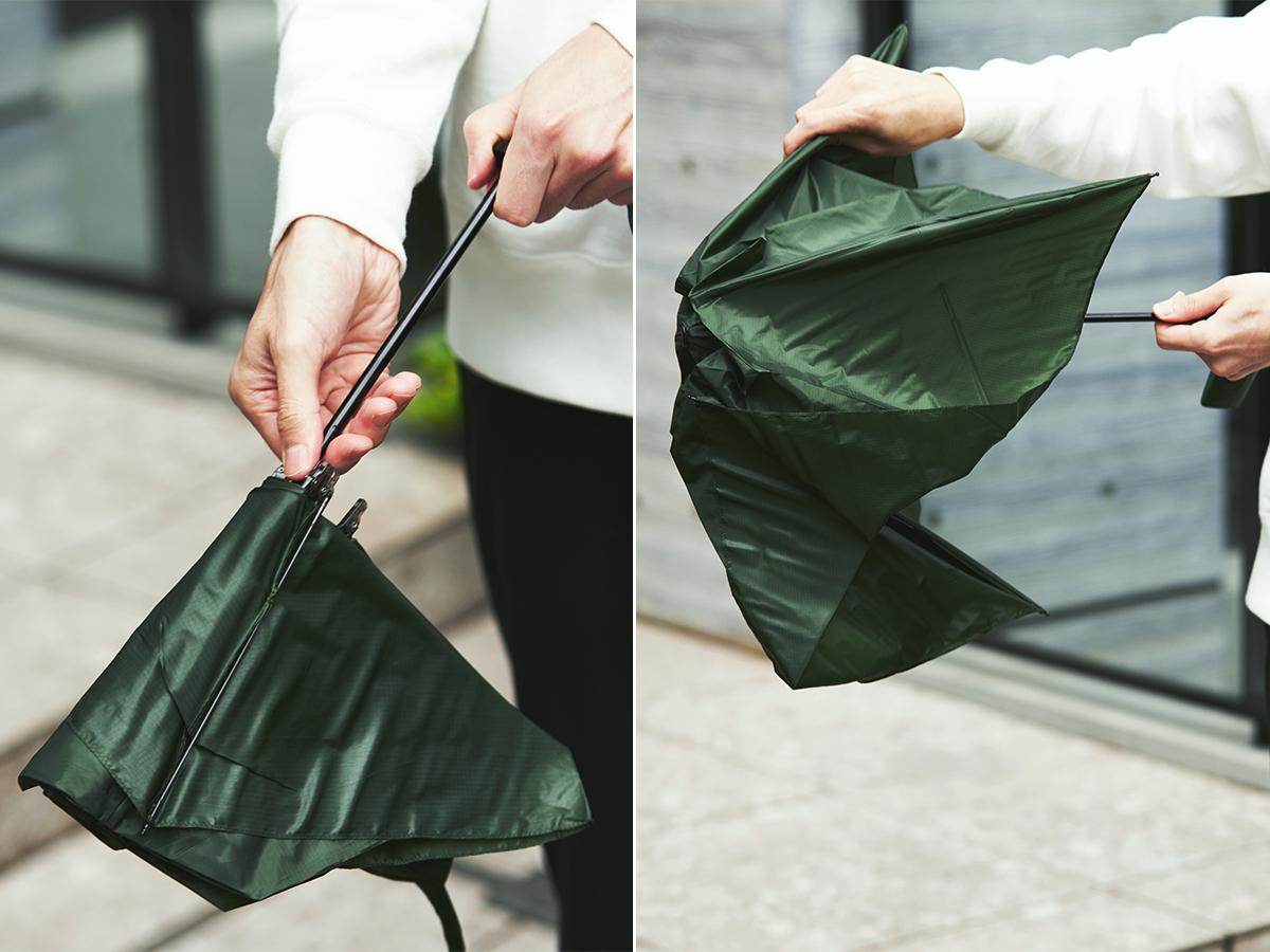 傘を開く前に、軽く振って(ほぐす)あげることで、長くお使いいただけます。傘全体の負担が軽減でき、骨折れも防げるウォーミングアップ習慣。「世界最軽量級折りたたみ傘」|Pentagon72
