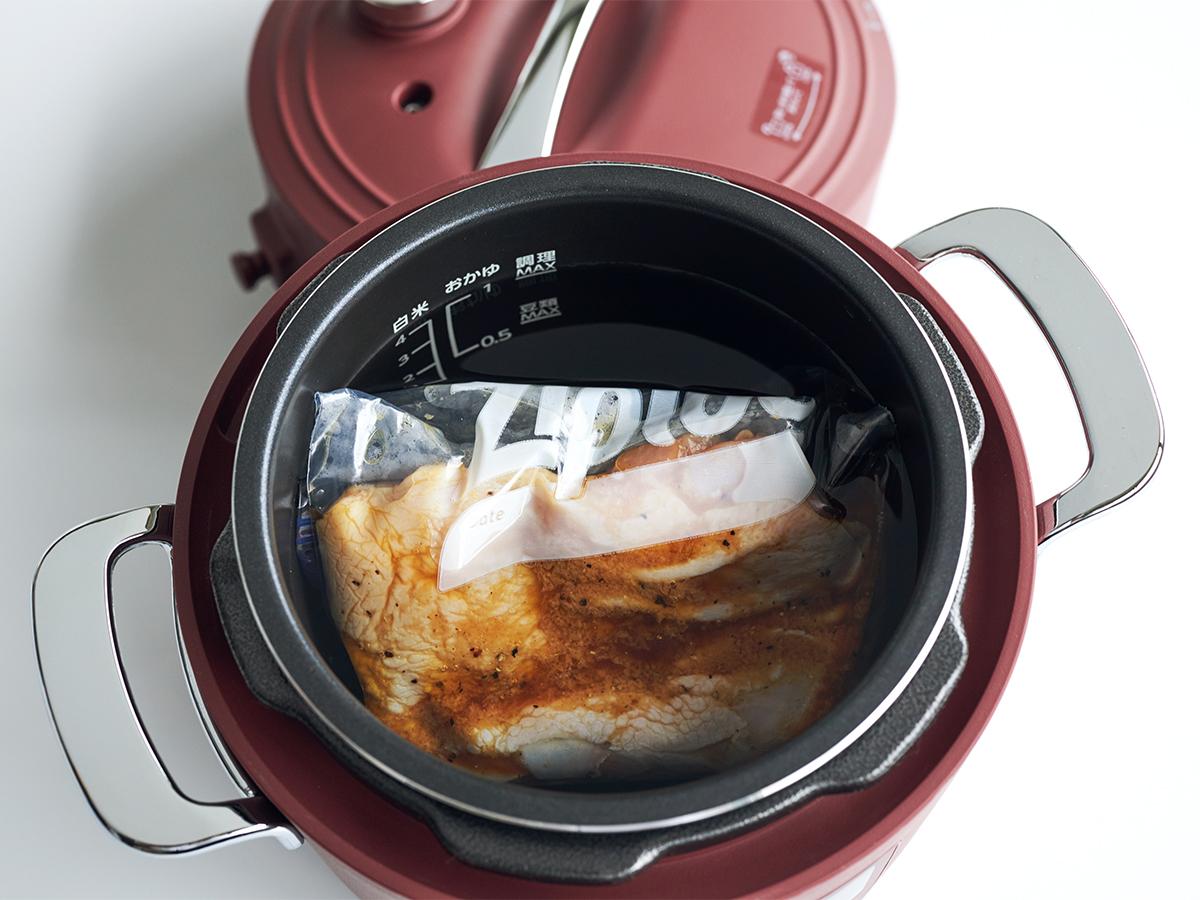 ふっくらジューシーな鶏の唐揚げの成功パターン。肉はジューシーに、ジャガイモはホクホクに下ごしらえ!炊飯も調理も楽チンで早い「アシスト調理器・電気圧力鍋」|Re-De Pot(リデ ポット)