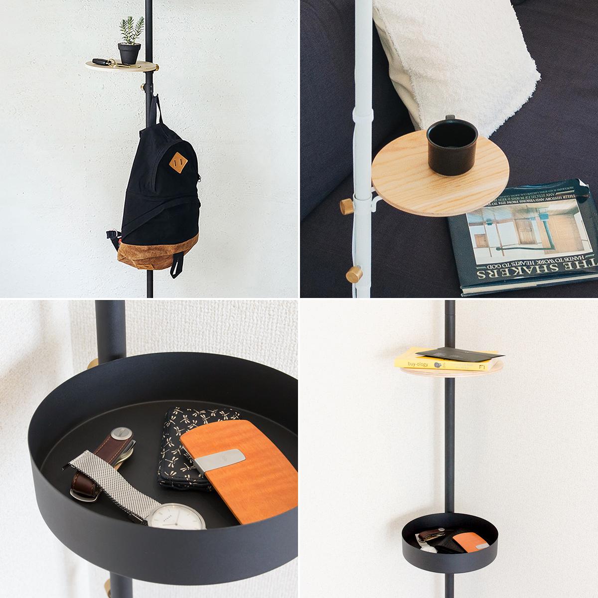「丸テーブル」や「小フック」を取り付ければ、あなた好みの使いやすいスペースに。照明とテーブルがセットできる「つっぱり棒」|DRAW A LINE ランプシリーズ