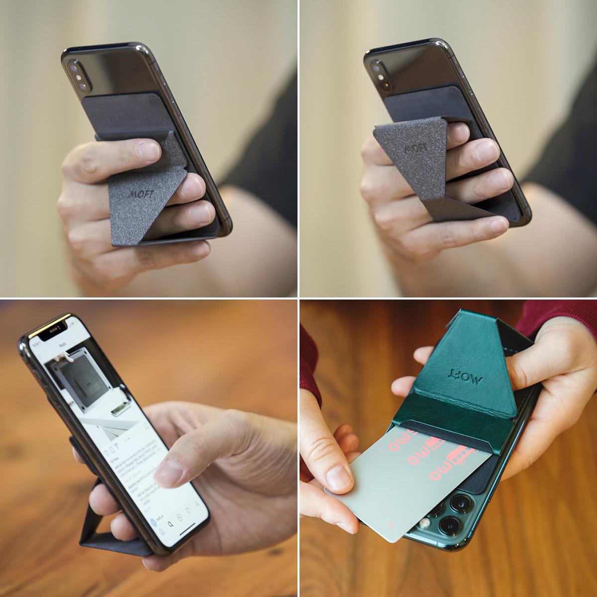 縦置き・横置きどちらも設置可能、カードポケットと磁石付きの万能スマホスタンド|MOFT|スマホアクセサリーで快適なモバイルライフを。スマホがもっと便利になるおすすめグッズをご紹介