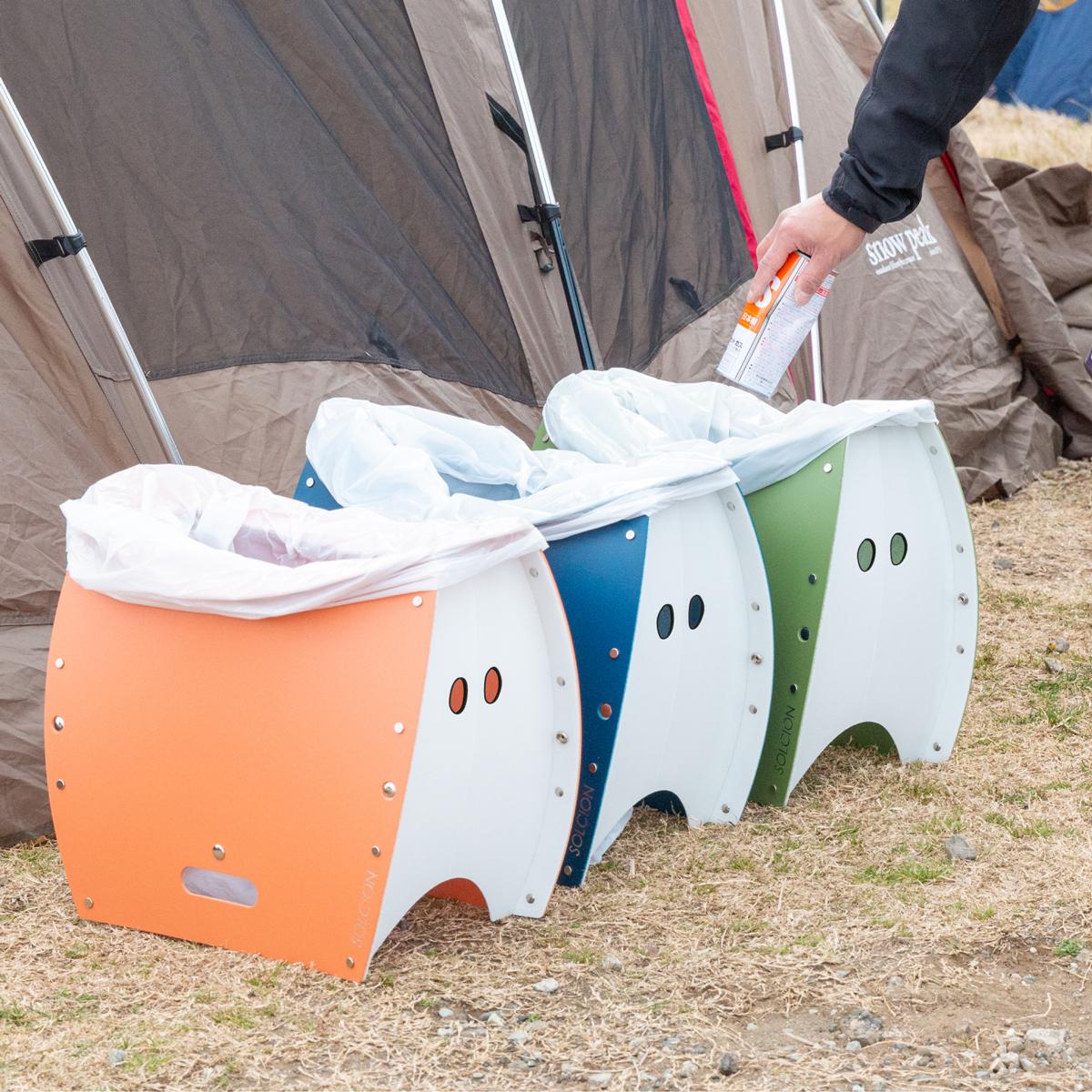 色違いで用意すれば、キャンプやバーベキューなどのアウトドアレジャーで、見栄えよくゴミの分別もできます。座面を外せば、ゴミ箱・防災トイレが出現する「折りたたみイス」|PATATTO PATATTO 350+