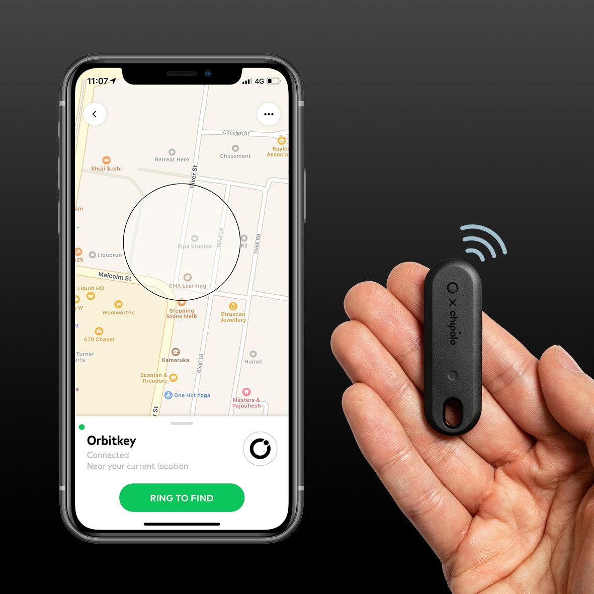 アプリの地図上でもありかを教えてくれる。鍵もスマホも、すぐ見つかる!「探す」がなくなるキーホルダー|Orbitkey×Chipoloトラッカー