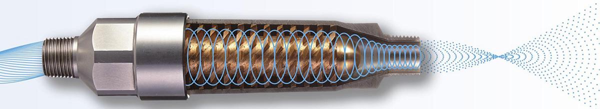 「SIO」は圧力だけで水の攪拌(かくはん)拡散を行う部品や、精密機器(カメラなど)の洗浄にも活用されている最先端技術。家庭用のシャワーヘッドにおいては、本品のみがこの技術を搭載した「シャワーヘッド」|エミュール ファインバブルシャワー