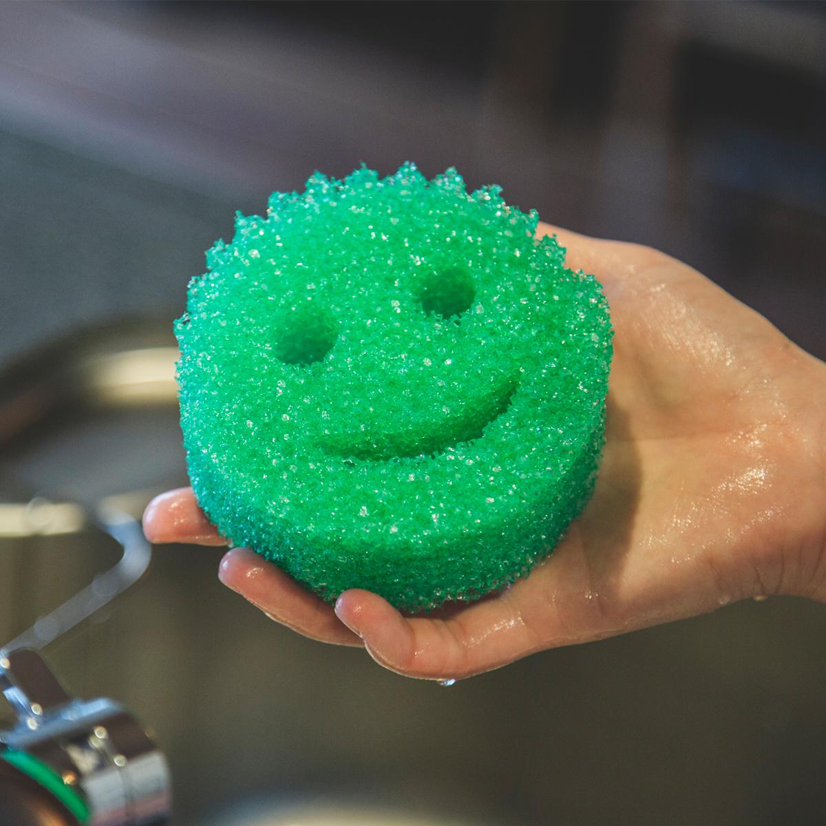 冷水だと握っても潰れないほどカチカチなのに、温水をかけた途端にジュワ〜っとしなやかな素材になる。水切れ・汚れ落ちバツグンの「洗浄スポンジ」|Scrub Daddy