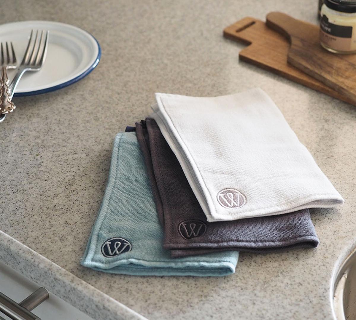 洗ったタオル特有の「嫌なニオイ」がつきにくいキッチンワイプ(台所ふきん)|酸化チタンと銀の作用で、生乾き臭・汗臭の菌を除去する「タオル」|WARP