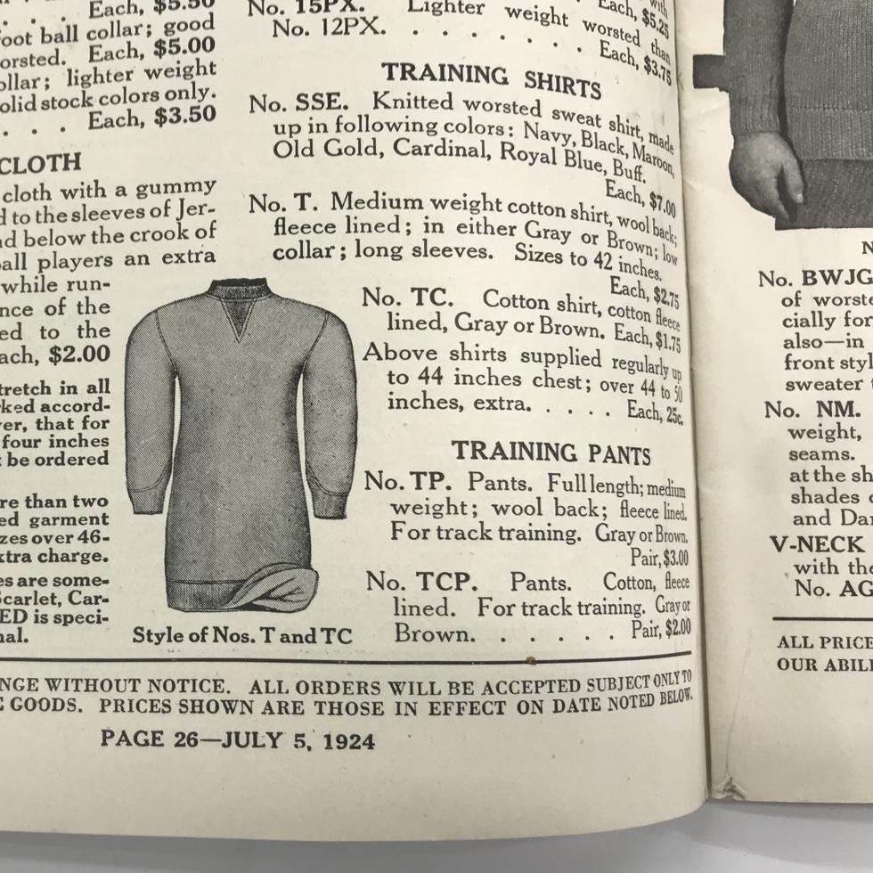 1937~1938 FALL & WINTER CATALOG|スポルディング社の名作の復刻版。スポルディング社の名作から再構築された、動きまわり軽やかな「フットボールスウェット」|A.G. Spalding & Bros