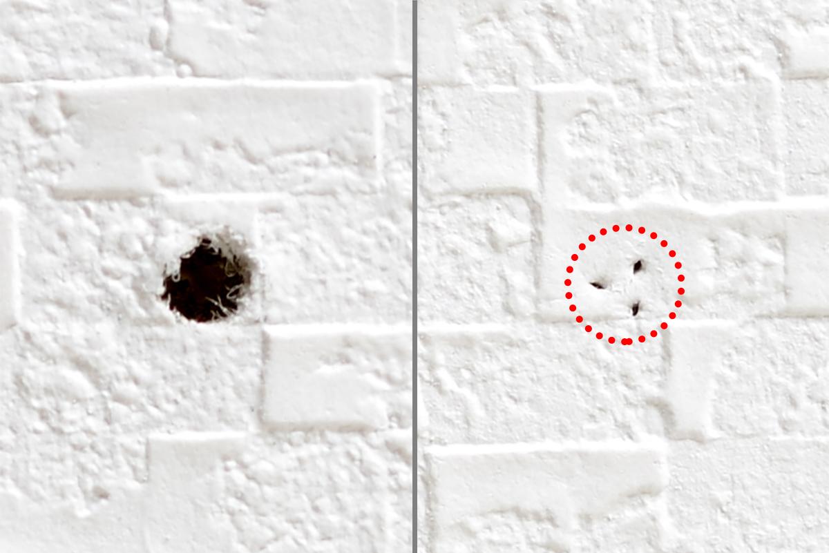②極細ピンを抜いた跡の穴は、ご覧の通り、いわゆるネジ穴よりずっと小さいので、まず目立ちません。コードレス掃除機の壁掛け用フック|Pinde(ピンデ)