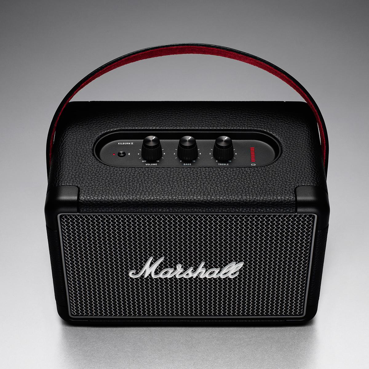 最新技術のBluetooth 5.0、apt-X技術を採用。ヴィンテージ感溢れる見た目から、迫力の音!Bluetooth2台接続でスムーズに音楽が楽しめるワイヤレススピーカー|Marshall Kilburn Ⅱ