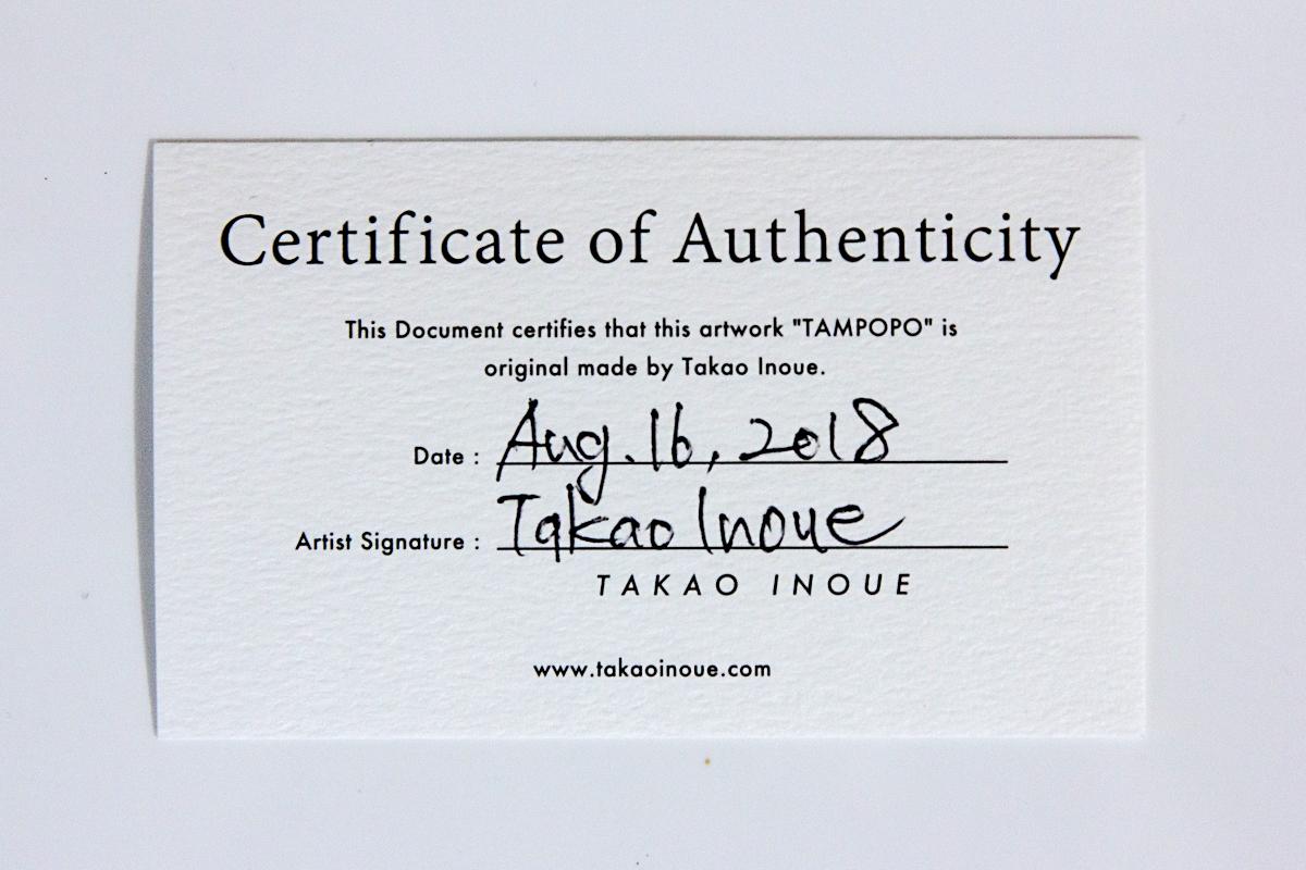 アーティスト直筆の本物である証明書|生花のたんぽぽを閉じ込めたアクリルオブジェ | OLED TAMPOPO LIGHT by TAKAO INOUE