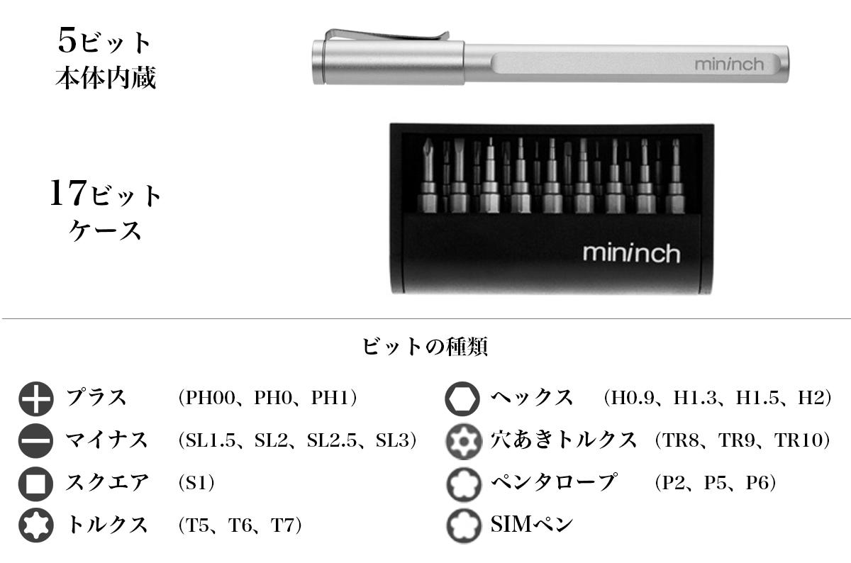 ロケット鉛筆のように先端ビットを交換できる工具:眼鏡や精密機器、プラモデル向けの「ツールペンミニ」|mininch