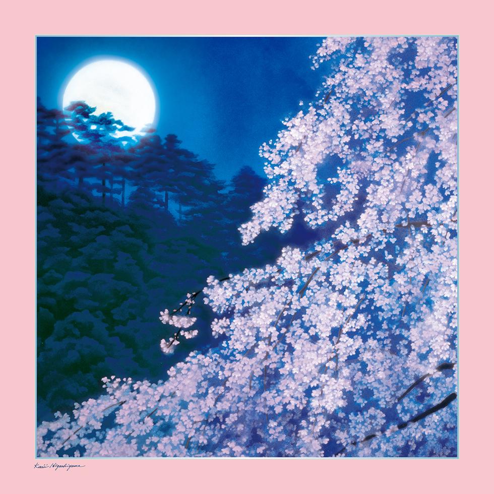 日本画家・東山魁夷の日本画が描かれたシルクスカーフ「宵桜」