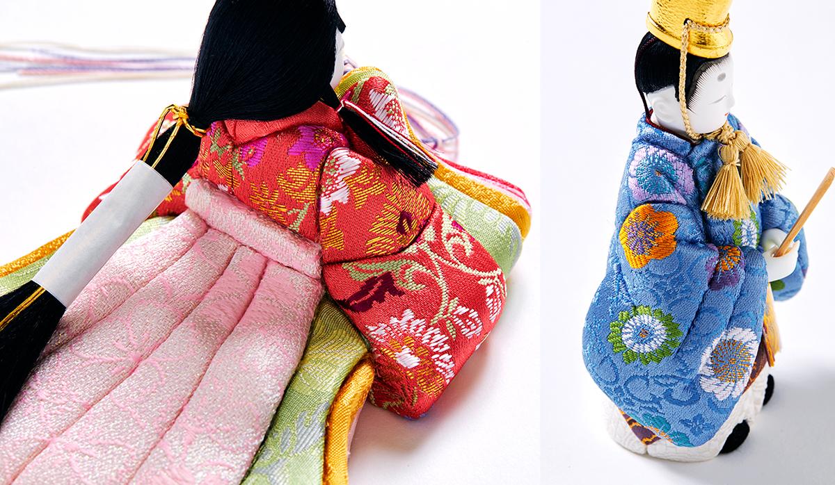 2.衣装:京都西陣織の正絹|次世代に伝えていきたい最高峰の7つの日本伝統技術が結集|柿沼東光(経済産業大臣認定伝統工芸士)× 大沼 敦(工業デザイナー)によるモダンな雛人形
