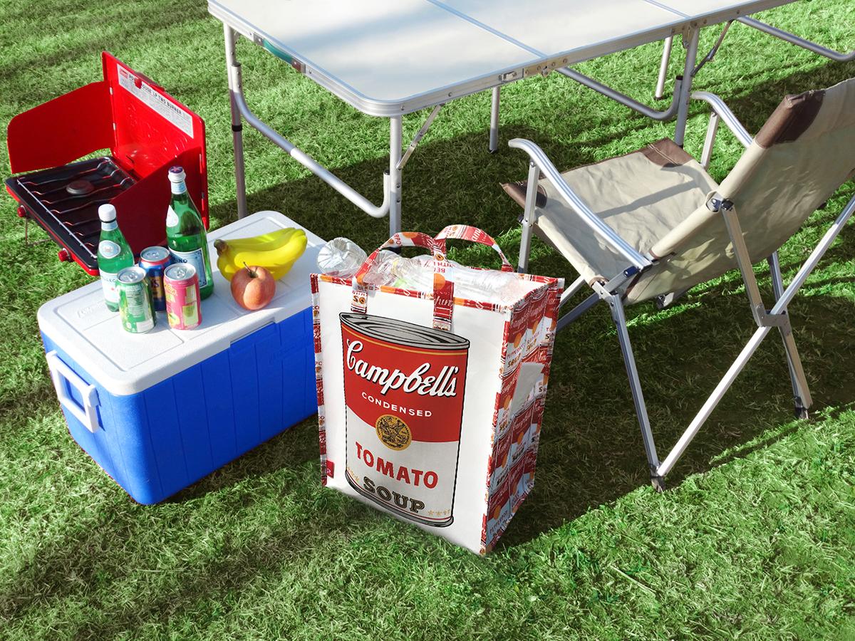 大容量なのにかさばらない 見た目にも楽しい アウトドア用のおしゃれなゴミ袋・ゴミバッグ|ROO Garbage(Campbell's Soup Cans)
