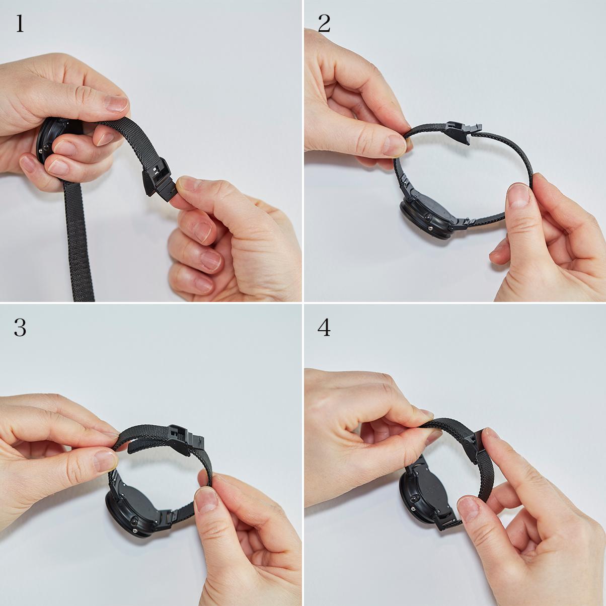 道具を使わず、ワンタッチで簡単にバンドの長さを変えられるので、お子さまにもぴったり。腕元におさまるコンパクトな文字盤、軽やかな装着感のメッシュバンド。触って時間を知る「腕時計」| EONE
