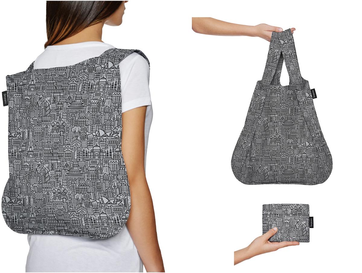 スマートな買い物習慣、エコバッグ習慣になる。トートにリュックにすばやく変身する「変身エコバッグ」|notabag(ノット ア バッグ)
