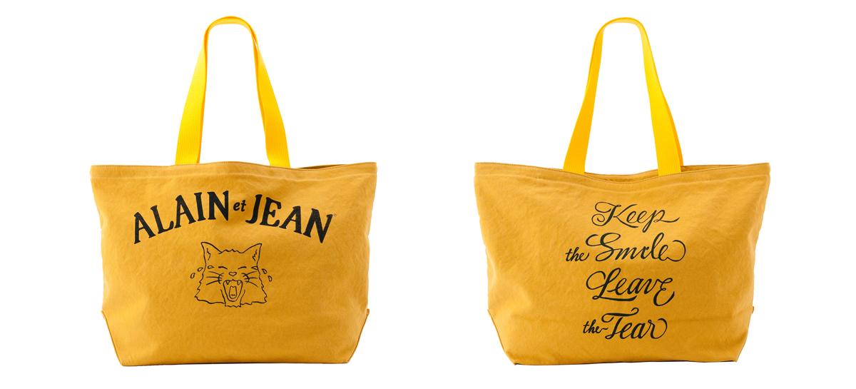 猫柄の黄色いキャンバストートバッグ