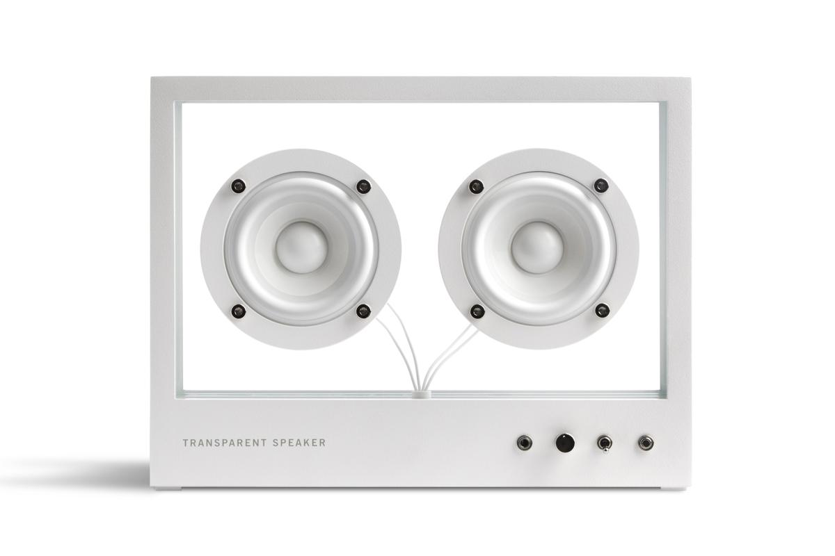 普通は見えないスピーカーユニットや配線まで、本体フレームと同じホワイトで統一した、魅せるデザイン。ガラスとスピーカーユニット2つだけ、美しい佇まいの「Bluetoothスピーカー」|TRANSPARENT SPEAKER(トランスペアレント スピーカー)