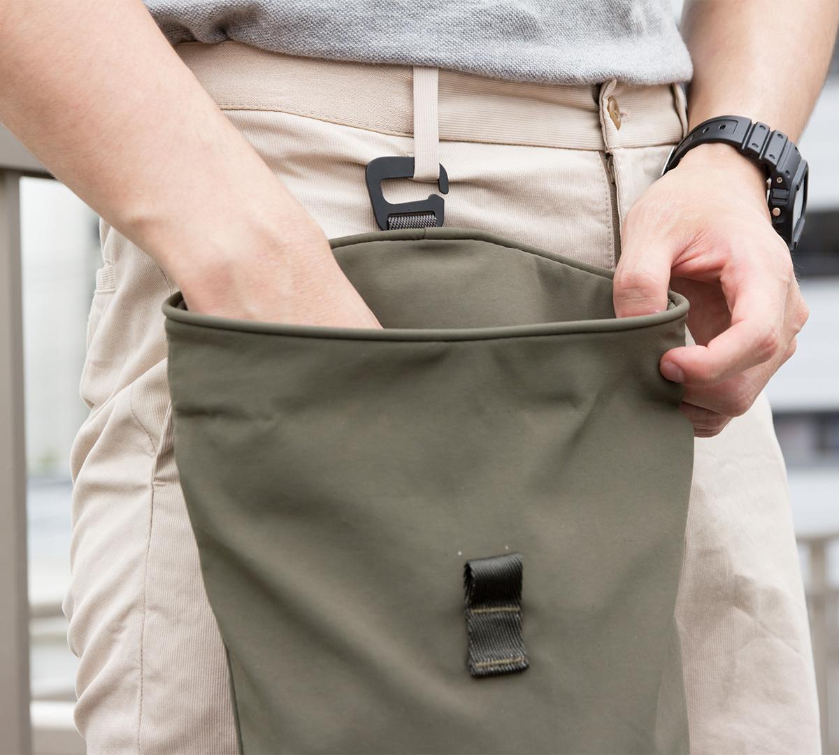 吊り下げバッグ|DIYなどの作業バッグや小物入れにも重宝する、超軽量、動きを邪魔しない、荷重を分散、ミニマムデザインの4WAYウエストバッグ | Topologie