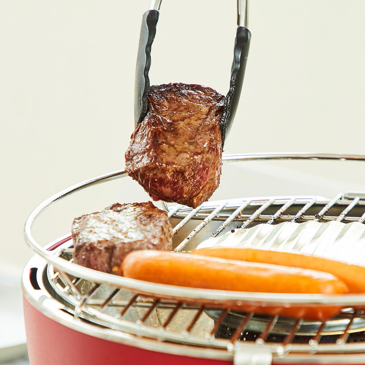 肉や魚、野菜も「外はパリッ、中はふっくら」の食感で美味しくなる。贅沢な一人BBQができる「炭火焼グリル」(コンパクト・軽い、ミニ、スモールサイズ)|Lotus Grill