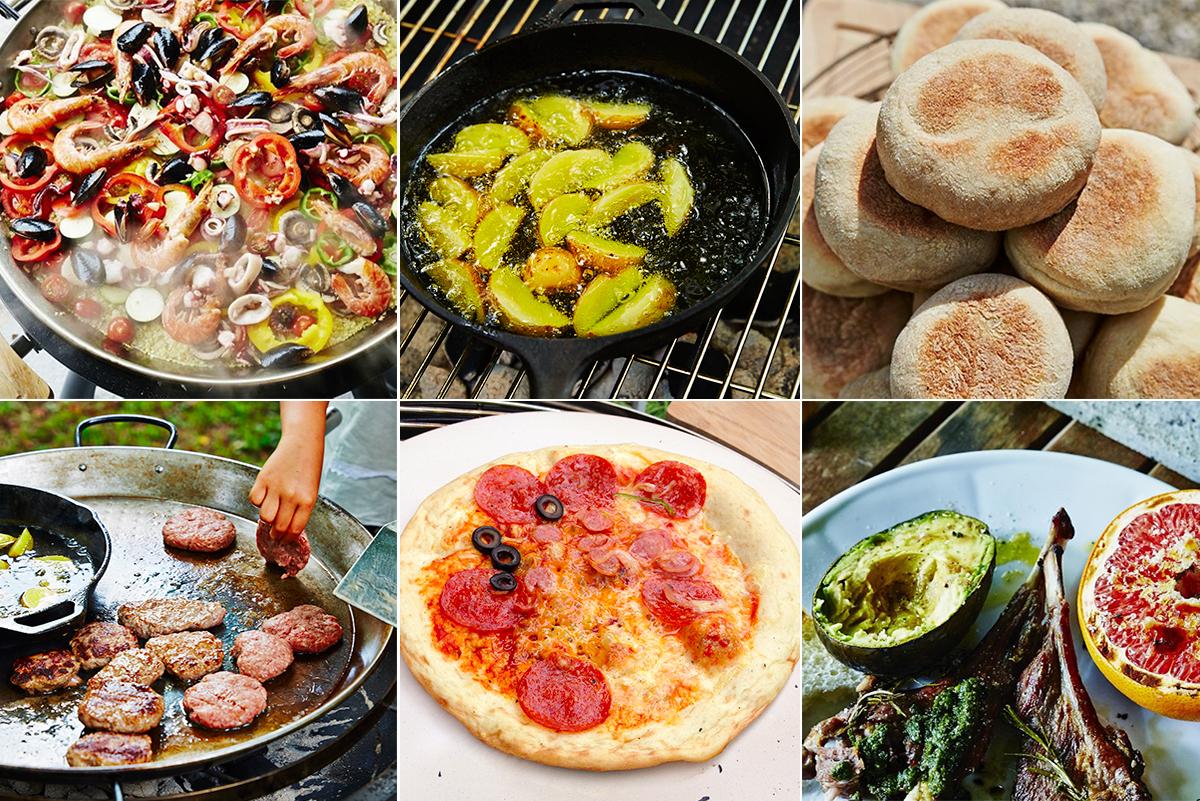 ステーキ、パエリア、ハンバーグ、アヒージョ、ピザなど色々なアウトドア料理ができる火加減自在の「BBQグリル」|SWINGGRILL