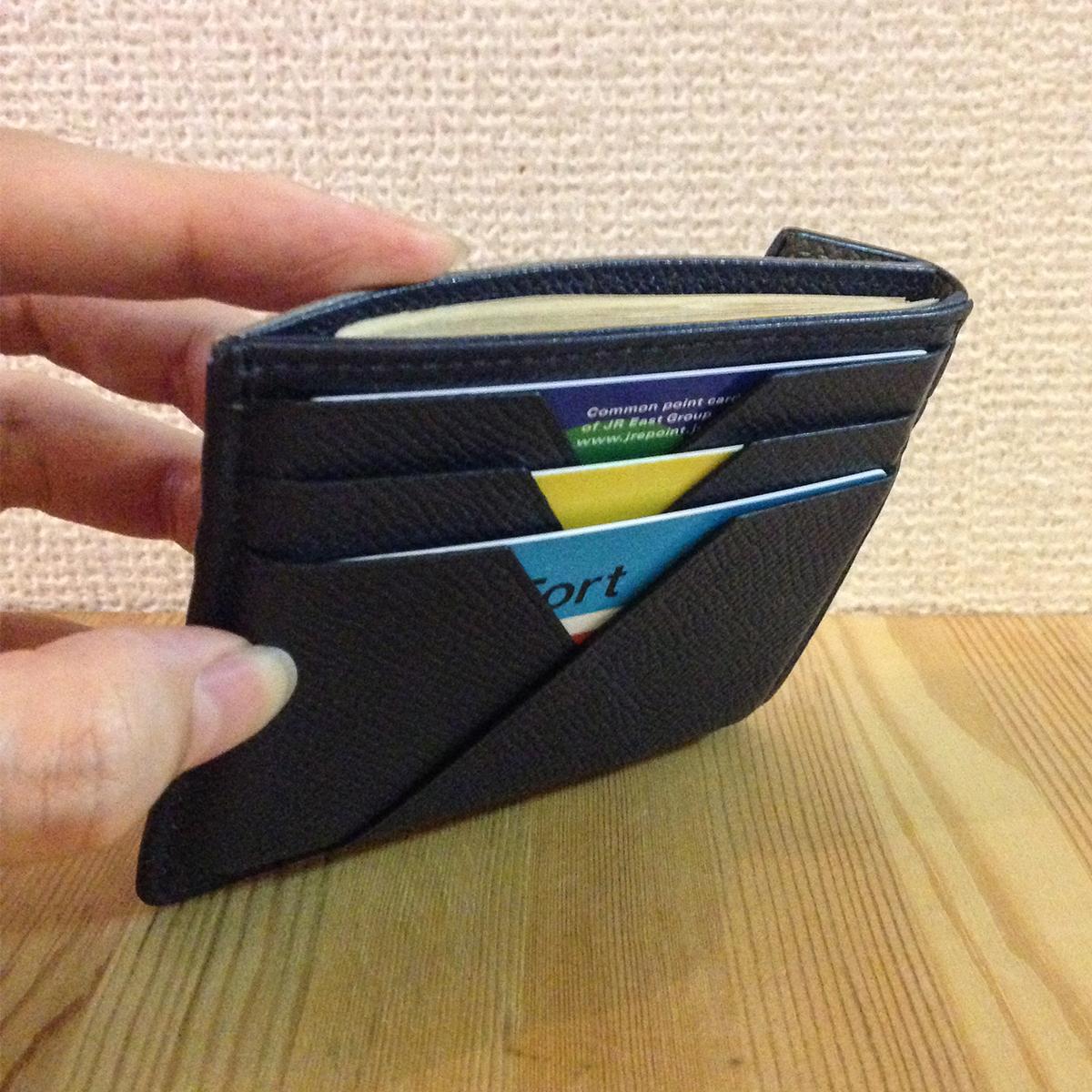 薄さと収納量を追求した硬貨入れ|カードを見える化、支払いも収納もスマートな革財布(札入れ)|ALBERTE