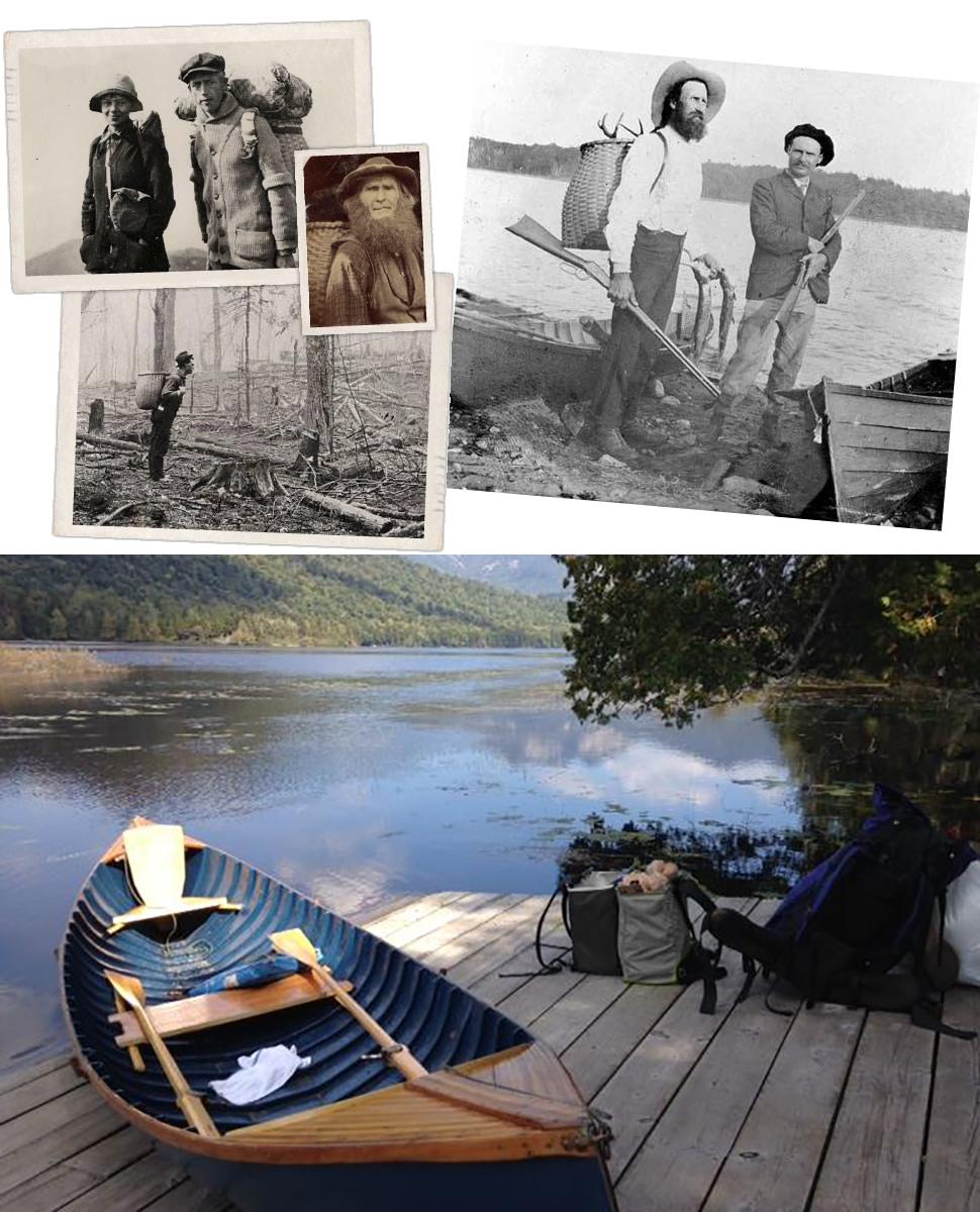 150年前の「アディロンダック パックバスケット」。入植者たちはこのカゴを背負って、ボート(右写真)に乗って、釣りへ出かけた|たためる金属フレーム入り!自立するから、柔らかいパンや葉物野菜、花を潰さない「箱型エコバッグ」|ADK Packworks