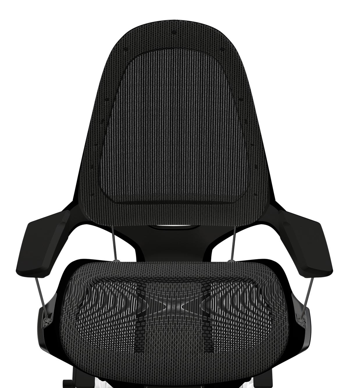 背もたれから座面までを覆うのは、高反発のポリエステルメッシュ地。暑い日や長時間座っていても、いつでも快適なワーキングチェア|Elea Chair