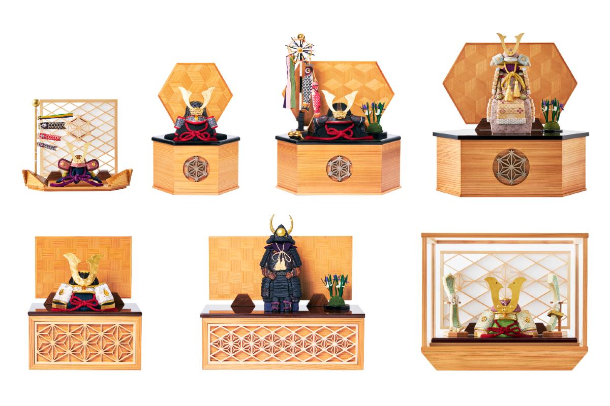 コンパクトモダンでおしゃれな五月人形のラインナップ|子供の日に男の子に。日本伝統工芸をコンパクトモダンにした、江戸木目込のプレミアム「鎧飾り」「兜飾り」|柿沼人形