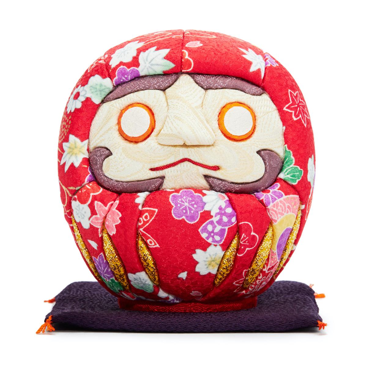 伝統の木目込み技術とモダンデザインが出逢った願掛けだるま 西陣織り 紅白|柿沼人形