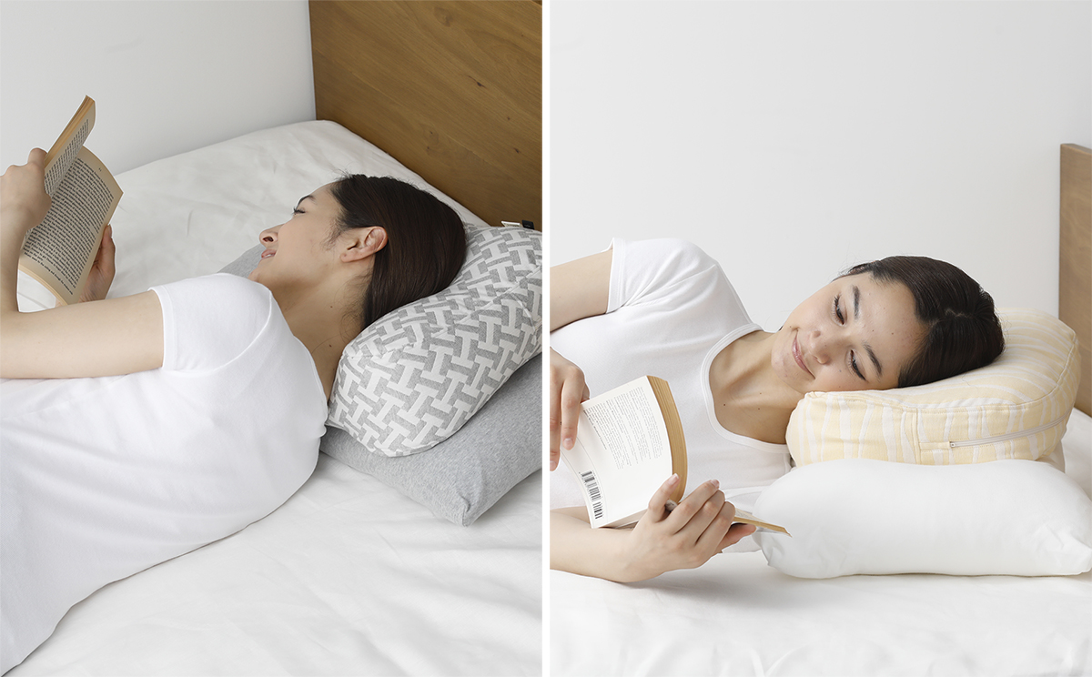 右向き・左向きどちらでも寝転べるように、上下ひっくり返して使える|横向き寝の姿勢をサポート、スマホや本がラクに読めるまくら・ピロー|HONTO