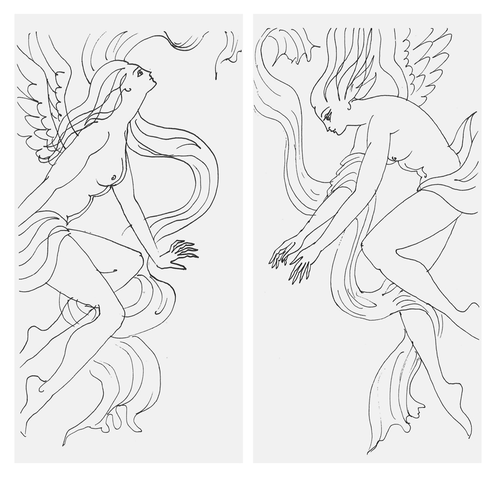 提灯型ランプ(インテリア ライト 照明)| 古代蕾 - 鈴木茂兵衛商店 SUZUMO CHOCHIN(すずも提灯)のアーティスト MIC*ITAYA(ミック・イタヤ)氏の作品『左の女神と右の女神』