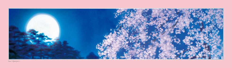 日本画家・東山魁夷の日本画が描かれたシルクストール「宵桜」