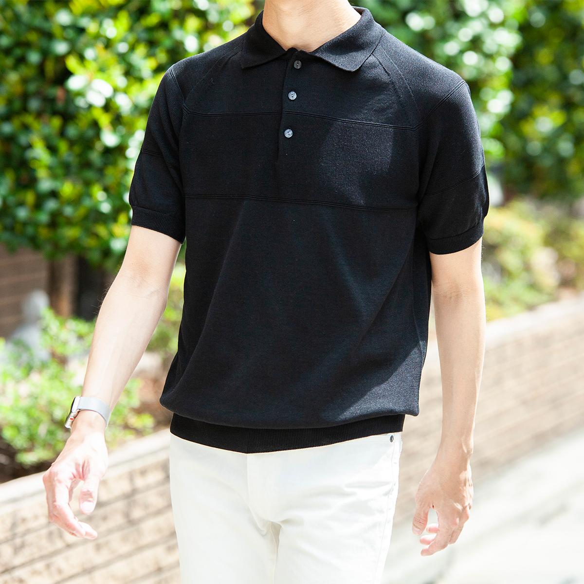 腕周りと胸周りは、立体感のある二重編み仕立て。ポロシャツに、凹凸のある表情が生まれて、上質なデザインの「ニットポロシャツ」|伊予和紙ポロシャツ