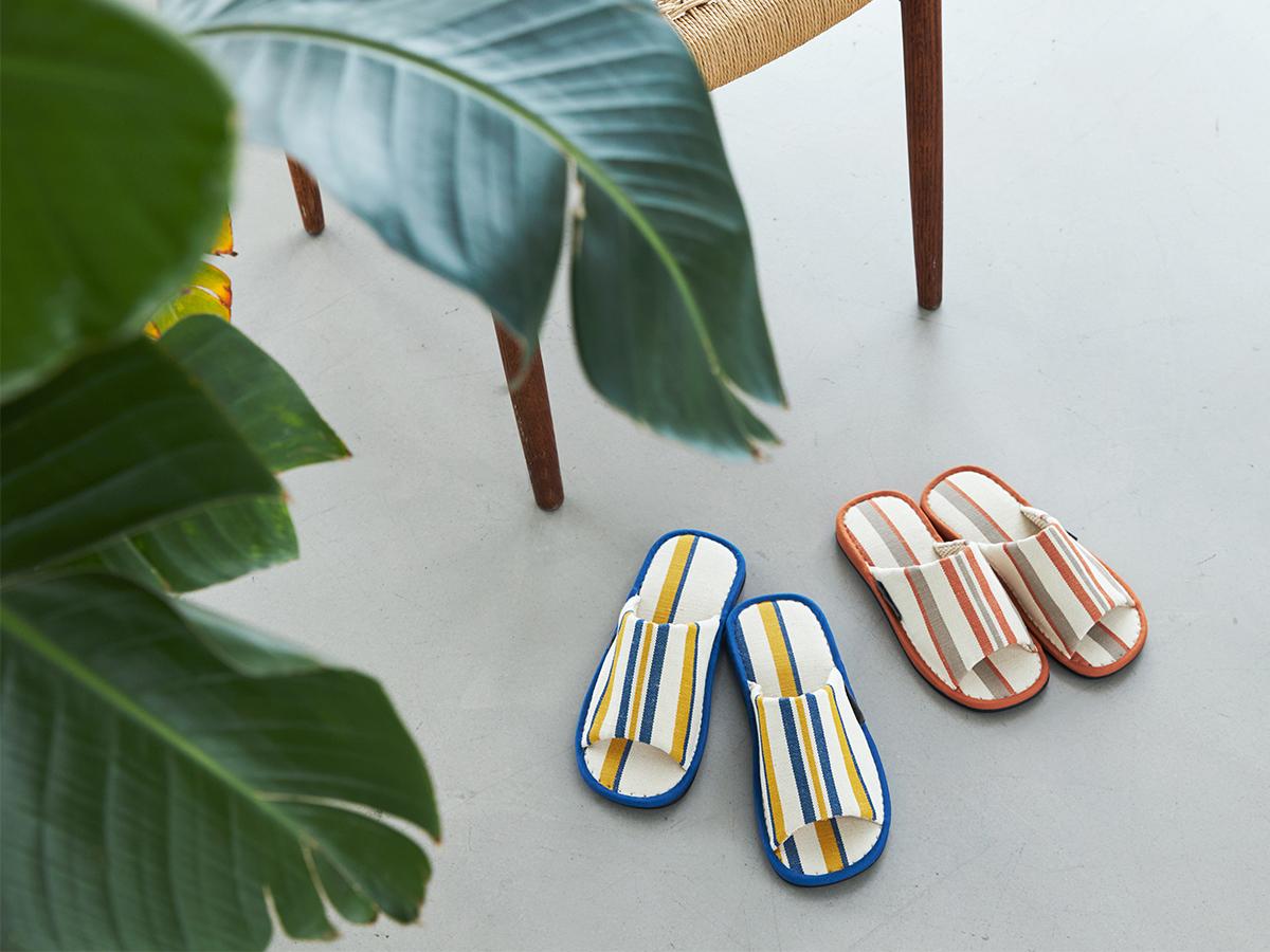 何度でも洗えて、指先サラサラ 何度も洗えてサラサラの肌触り。夏にぴったりな高島帆布で作られたスリッパ LOOM&SPOOL(ルームアンドスプール)