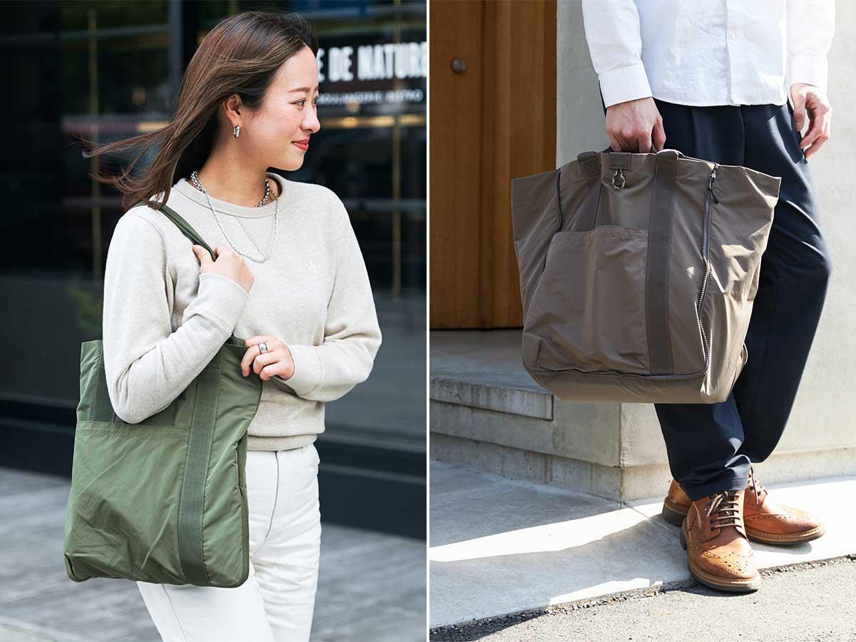 持ち手は、ロングとショートの2種類なので、肩掛けも、手持ちもできます。薄型トートバッグが大容量バッグに変身するバッグ|WARPトランスフォームジッパーバッグ