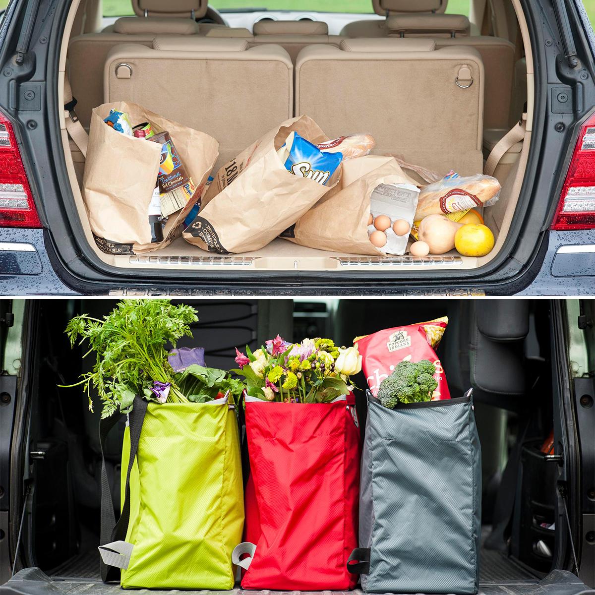荷物がこぼれない。たためる金属フレーム入り!自立するから、柔らかいパンや葉物野菜、花を潰さない「箱型エコバッグ」|ADK Packworks