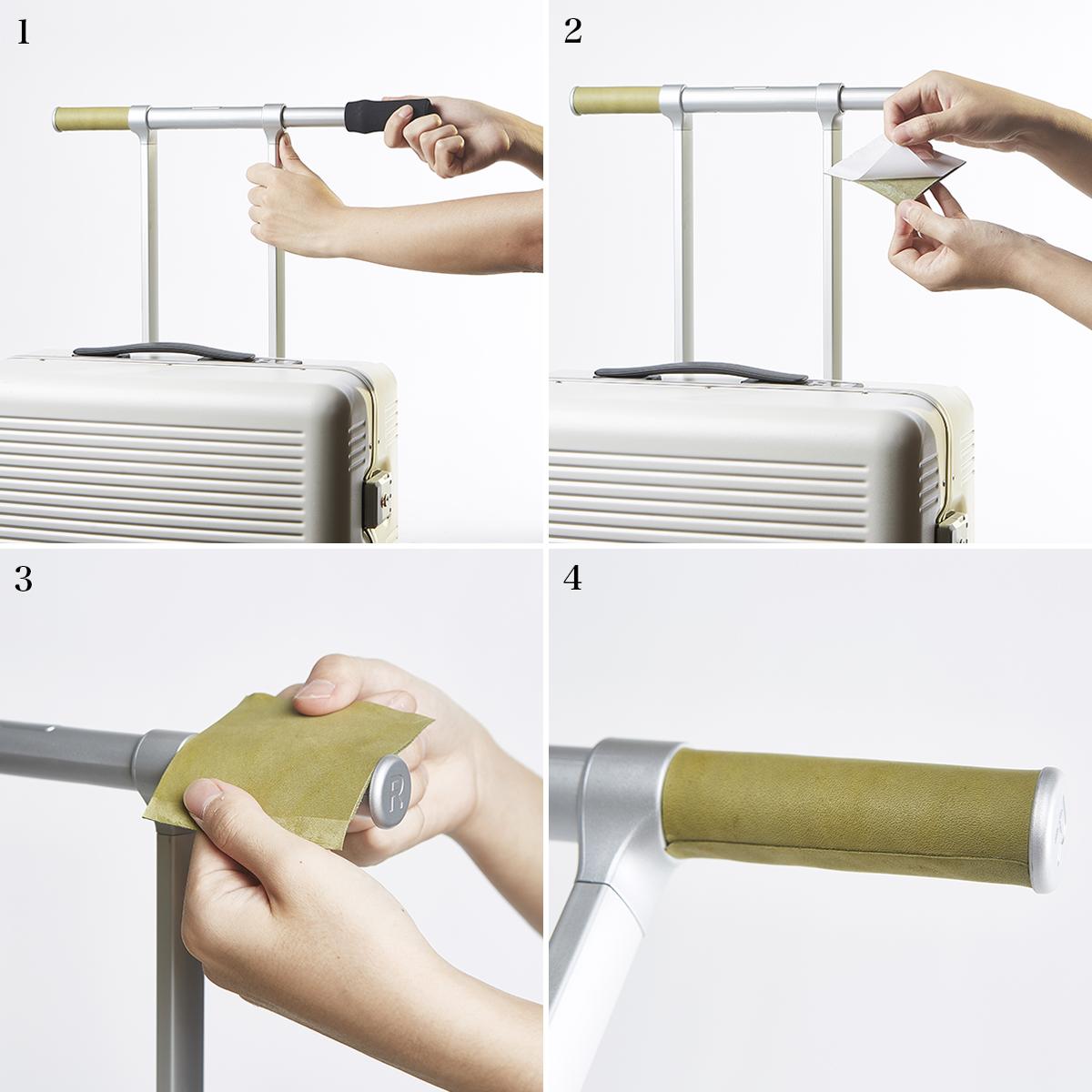 オプションのレザーハンドルの付け方|自分好みの配色にコーディネイトできるスーツケース|RAWROW