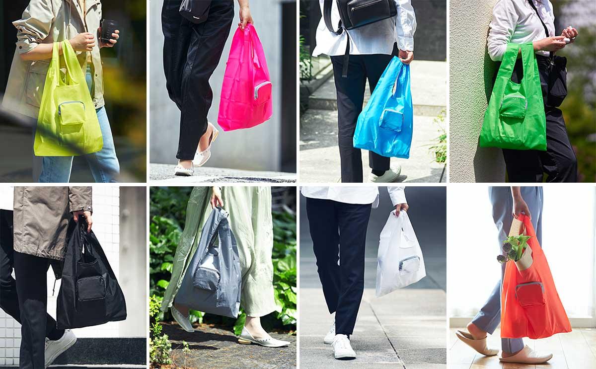 ファッションに合わせて選べる豊富なカラー展開。白、グレー、ブラック、イエロー、オレンジ、ピンク、ブルー、グリーン。スマートに持ち歩ける折りたたみエコバッグ|KATOKOA