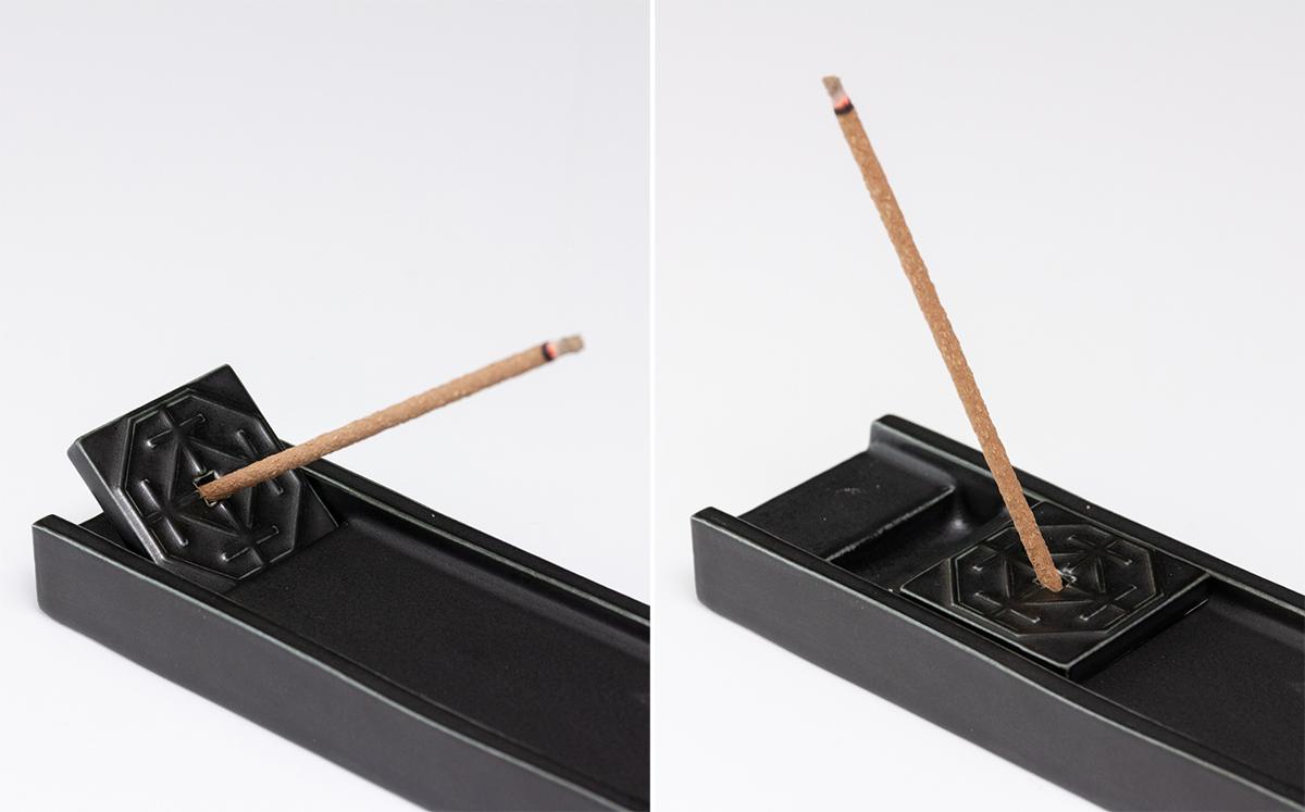 香立のプレートを寝かせてお香を立てる、お香を傾斜させるスタイルが可能。有田焼のインセンスプレート(お香立)|KITOWA