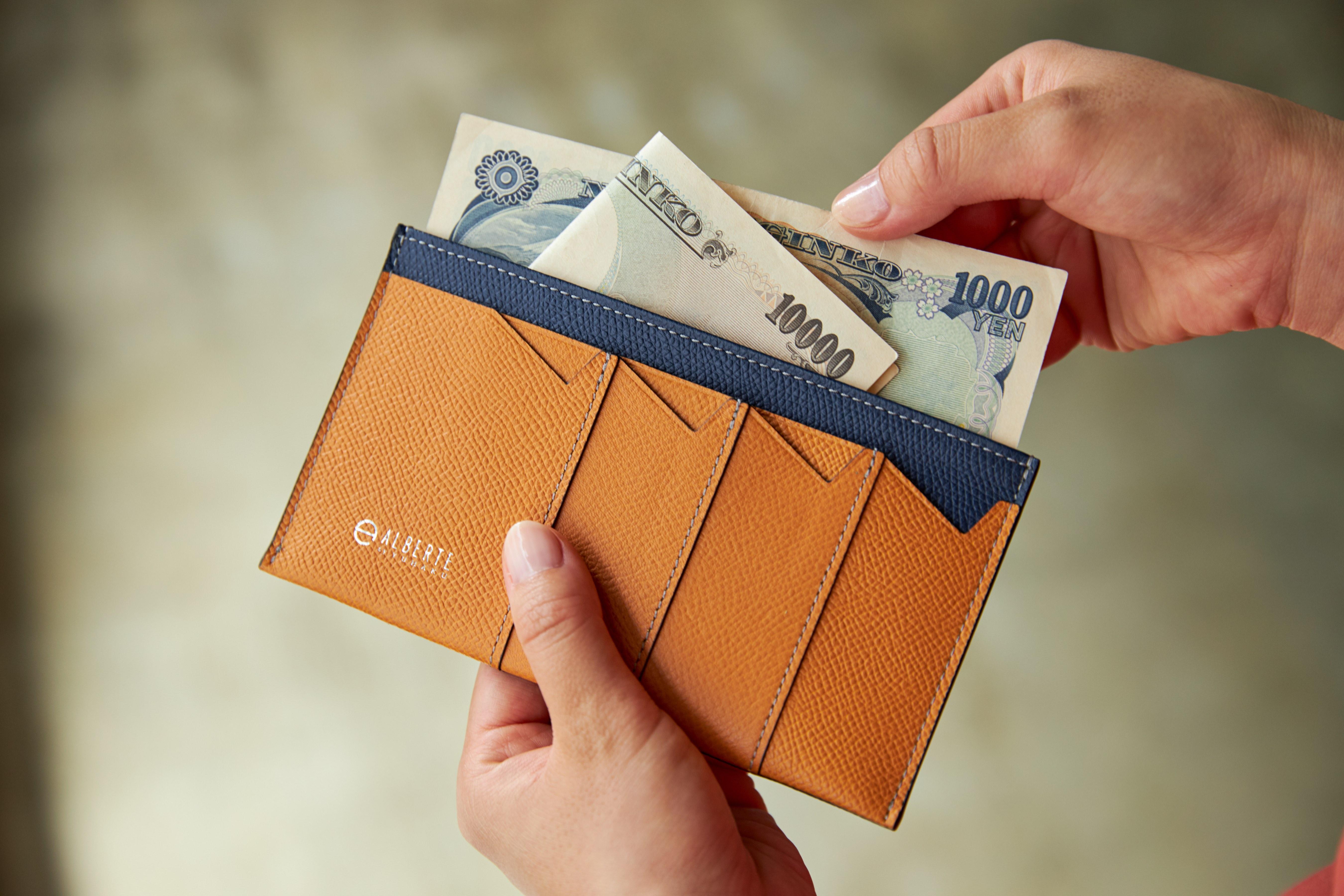 使い勝手の良い紙幣入れ。無理なくミニマムを極めた、「薄い財布」の傑作(長財布、二つ折り財布、パスケース、カードホルダー) ALBERTE